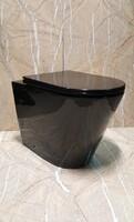 Керамический безободковый унитаз Ceramalux NS-3178-18 черный глянцевый