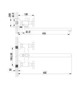 Смеситель Lemark Benefit LM2512C для ванны