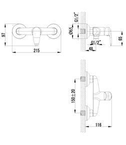 Смеситель Lemark Pramen LM3318C с гигиеническим душем