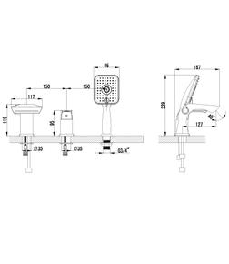 Смеситель встраиваемый Lemark Unit LM4545C для ванны