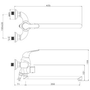 Смеситель для ванны Lemark Swan LM5451BG