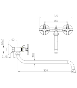 Смеситель для ванны Lemark Duetto LM5751C