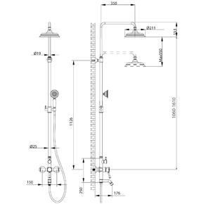 Душевая система Lemark Peretto LM6362RB со стационарной лейкой