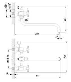 Смеситель Lemark Partner LM6541C для ванны