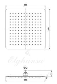 Верхний душ MQ-230 Elghansa нержавеющая сталь, квадратный 300x300x2мм