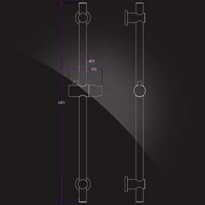 Штанга душевая Elghansa SHOWER RAIL SB-07S с мыльницей, шлангом и лейкой, хром