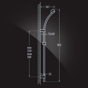 Душевой гарнитур и верхний душ Elghansa SHOWER RAIL SB-45S 800 мм, хром