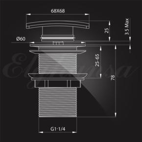 Донный клапан Elghansa WASTE SYSTEMS WBT-115 для раковины без перелива, хром